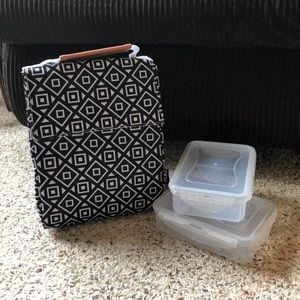 Brand New! Lunch bag with two snap-lid containers